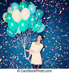 Cheerful Woman with  Balloons and Confetti