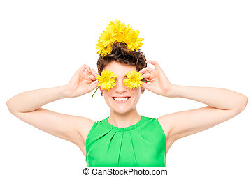 cheerful woman with flowers on a white background