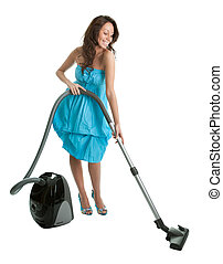 Cheerful woman with handheld vacuum cleaner. Isolated on...