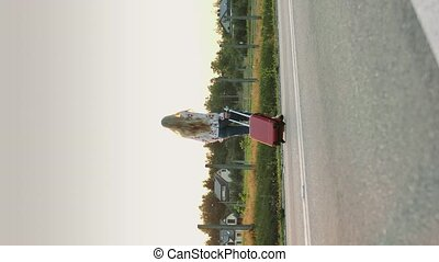 Cheerful woman with suitcase walking on road. Video with Vertical Screen Orientation 9:16