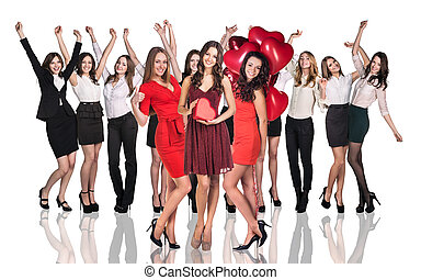 Cheerful women holding heart - Cheerful business women...