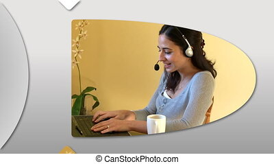 Cheerful women using a laptop
