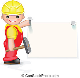 Cheerful worker is nailing paper to the wall. On this paper you can write your text.