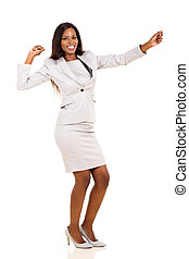 young african american businesswoman dancing