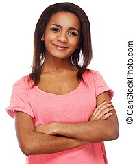 Cheerful young black woman isolated on white background