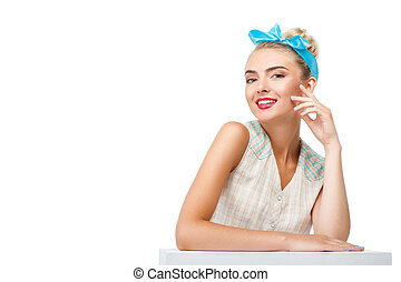 Cheerful young blond woman is presenting her healthy skin