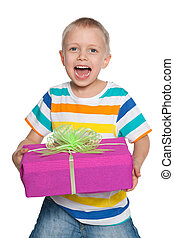 Cheerful young boy with a gift box