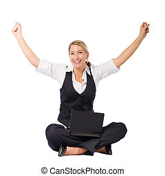 cheerful young business woman