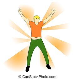 cheerful young casual man jumping in air and screaming with hand