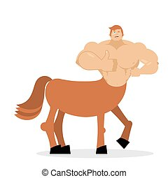 Cheerful young Centaur mythical creature. Half horse half...