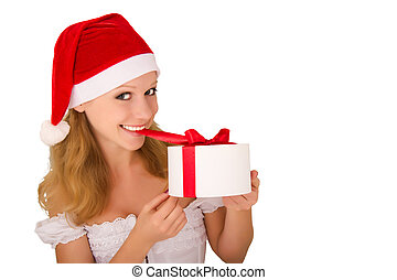 cheerful young girl with present