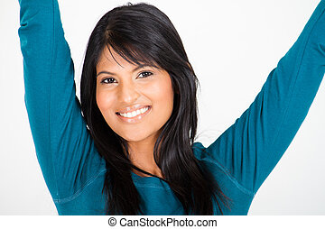 cheerful young latin woman