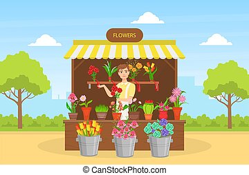 Cheerful Young Man Florist in Apron Selling Bouquets of Flowers at Outdoor Flower Shop Flat Vector Illustration