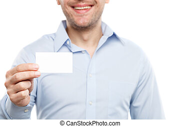 Cheerful young man is presenting his document