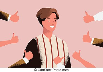 Cheerful young man surrounded by hands demonstrating thumbs...