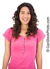 Cheerful young seductive woman