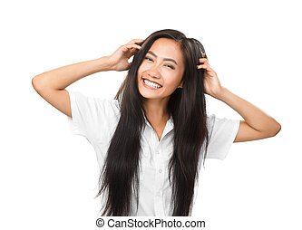 Cheerful young smiling Asian woman with bright smile isolated