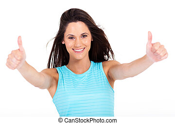 woman giving two thumbs up on white