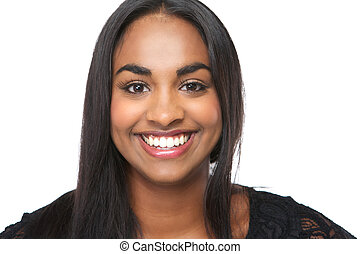 Cheerful young woman smiling on isolated white background