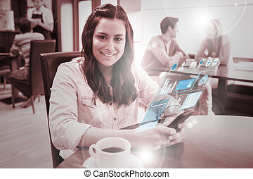 Cheerful young woman studying on f