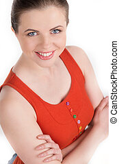 Cheerful young woman. Top view of happy young women keeping her arms crossed while standing isolated on white