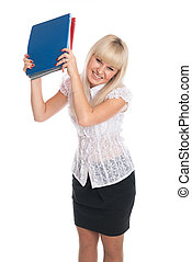 Cheerful young woman with business folders.
