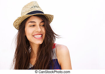 Cheerful young woman with long hair smiling