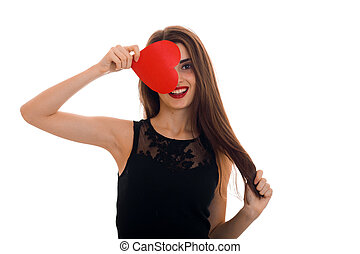 cheerful young woman with red lips celebrating valentines day with hearts isolated on white background
