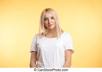cheerful young woman with straight fair hair
