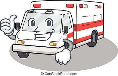 Cheerfully ambulance making the Thumbs up gesture