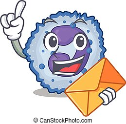 Cheerfully basophil cell mascot design with envelope. Vector...