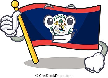 Cheerfully flag belize making Thumbs up gesture