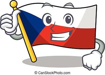 Cheerfully flag czechia making Thumbs up gesture