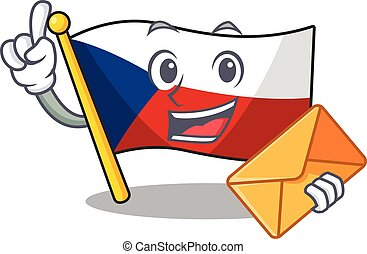 Cheerfully flag czechia mascot design with envelope. Vector illustration