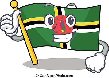 Cheerfully flag dominica making Thumbs up gesture