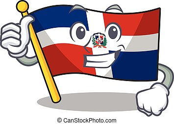 Cheerfully flag dominican republic making Thumbs up gesture