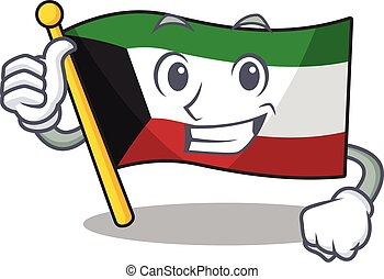 Cheerfully flag kuwait making Thumbs up gesture