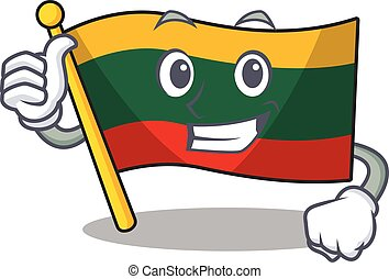 Cheerfully flag lithuania making Thumbs up gesture