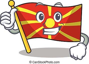 Cheerfully flag macedonia making Thumbs up gesture
