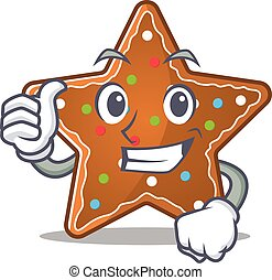 Cheerfully gingerbread star making Thumbs up gesture