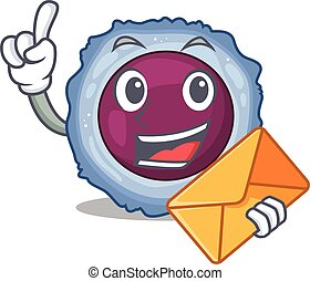 Cheerfully lymphocyte cell mascot design with envelope. ...