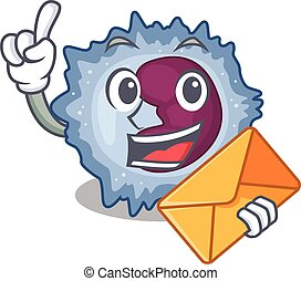 Cheerfully monocyte cell mascot design with envelope. Vector...