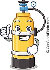 Cheerfully oxygen cylinder making Thumbs up gesture