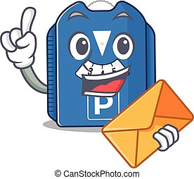 Cheerfully parking disc mascot design with envelope. Vector ...
