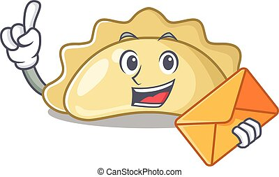 Cheerfully pierogi mascot design in with envelope. Vector illustration