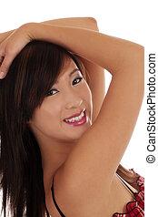 Cheerfully Smiling Asian American Teen Girl Portait