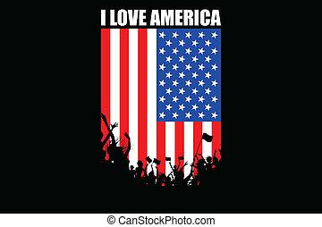 cheering, amerikaner, folk