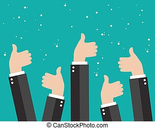 Cheering business people holding many thumbs