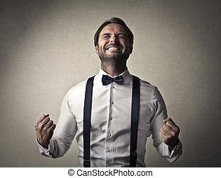 Cheering businessman