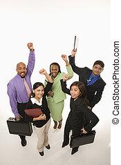 cheering., businesspeople